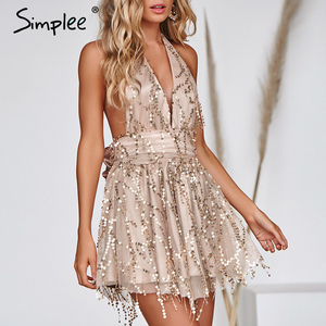 Image 4 - Simplee Deep v neck sequined sexy mesh women playsuit elegant Backless lining ladies short jumpsuit High wasit tassel overalls