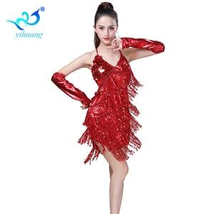 Image 3 - Shining Sequin ชุดเต้นรำละตินผู้หญิง Fringe พู่เต้นรำประสิทธิภาพเครื่องแต่งกาย Tango ชุด танцевальные платья
