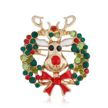 2019 New Arrival Tin Alloy Brooches Lovers Enamel Pin  Christmas Gift Korean Cute Deer Head Brooch