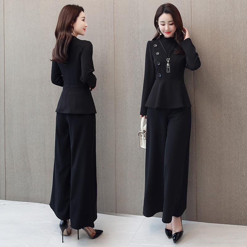 Black Grey Office Two Piece Sets Outfits Women Plus Size Buttons Tops And Wide Leg Pants Suits Elegant Fashion Ladies Suits 2019 36