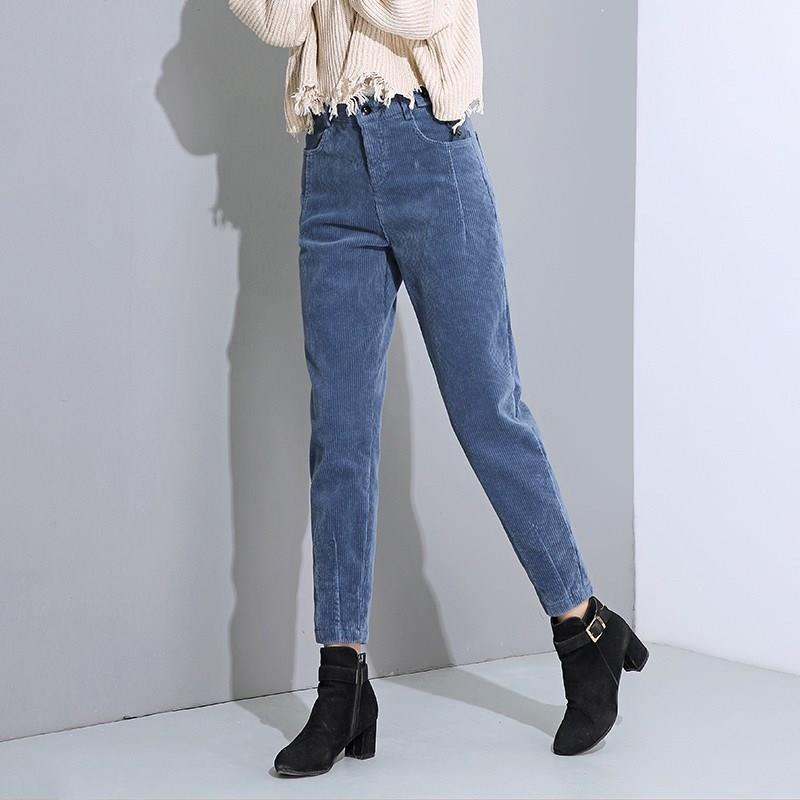 Women Autumn Winter Corduroy Harem Pants Plus Size Loose Solid High Waist Pants Casual Plus Velvet Long Trousers