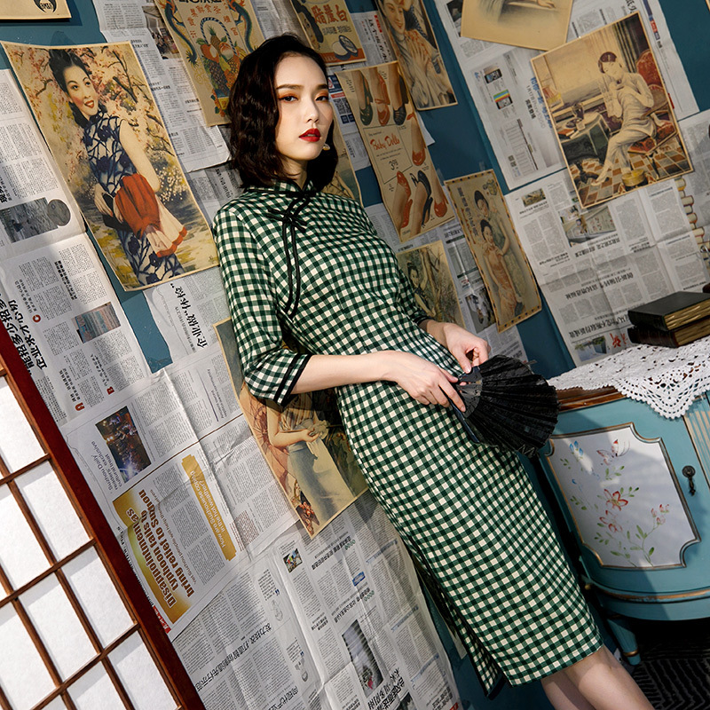 New Elastic Cotton Women's Traditional Chinese Cheongsam Dresses Vestido Plaid Printing Stand Collar Short Sleeve Plus Size 3XL