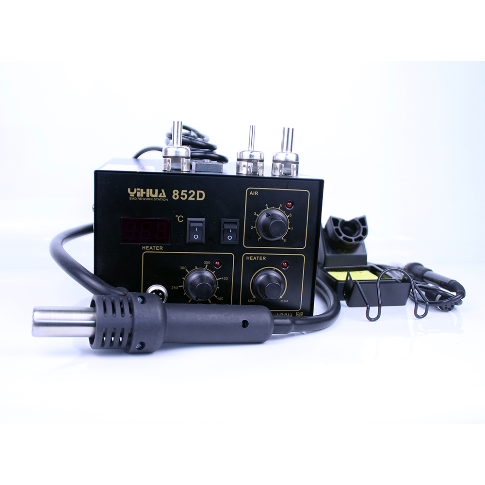 YIHUA 852D 2 In 1 Soldering Station (Diaphragm Pump) Rework Soldering Station with hot air gun and solder iron 220V 110V