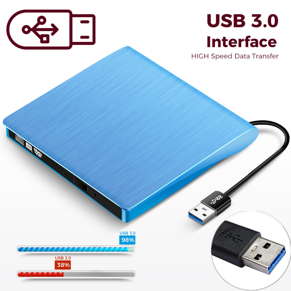 KuWFi External USB 3.0 Drive CD-RW DVD-ROM DVD-RW Burner Player USB Portable CD Reader for Windows7/8/10 PC Laptop image