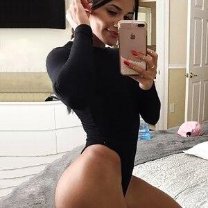 Women Black Long Sleeve Bodysuit Autumn Winter Turtleneck Bodysuits Womens Sexy Bodycon High Waist Romper Body Femee