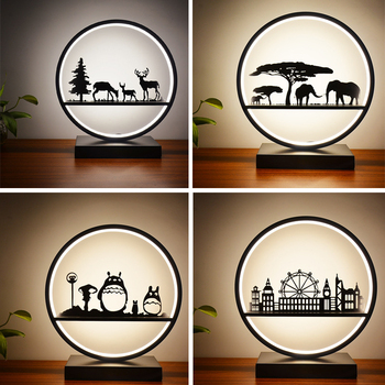 Modern warm design remote control dimming round LED strip cartoon table lamp for living room bedroom bedside bathroom art decor
