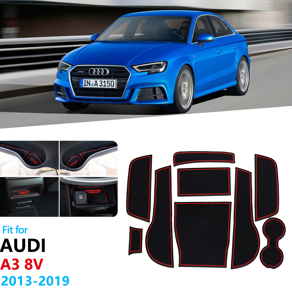 Anti-Slip Rubber Gate Slot Cup Mat For Audi A3 8V 2013 2014 2015 2016 2017 2018 2019 S3 RS3 RS 3 S Line Accessories Car Stickers