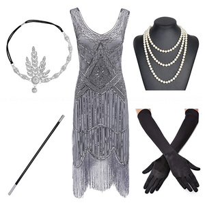 Image 3 - Plus Size 1920s Gatsby Sequin Fringed Paisley Art Deco Party Sleeve Dress with 20s Accessories Set for Wommen S,L,XL,XXL,3XL,4XL