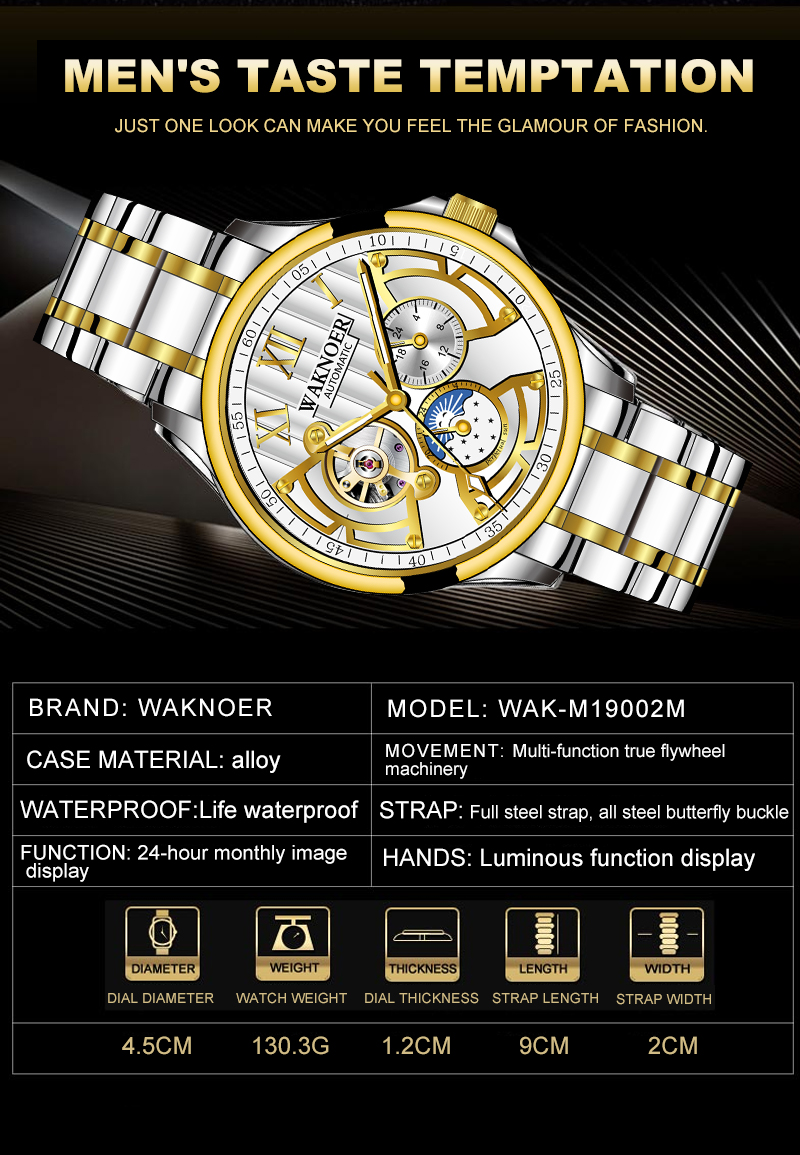 H8aad7950bbe0463c98331394e91909f5E WAKNOER Automatic Mechanical Watch Men Stainless Waterproof Moon Phase Luminous Luxury Gold  Business Tourbillon Montre Homme