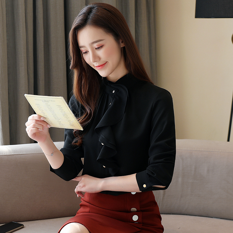 Fashion Spring Women Blouses Chiffon Women Shirts Ruffles Plus Size Womens Tops and Blouses Pink Blusas Femininas Elegante 4