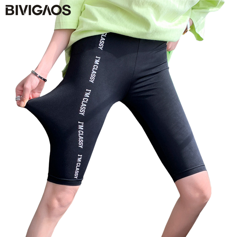 BIVIGAOS Single Row Letters Printed Black Biker Shorts Women Summer Thin Liquid Short Sports Fitness Knee Shorts Plus Size