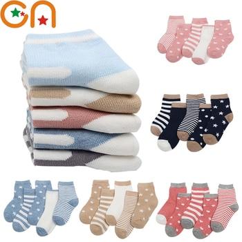 5 Pairs/Lot Children Cotton Socks Boy Girl Baby Newborn Infant Warm Stripe Dots Fashion Sport'S Autumn/Winter Kids Cartoon Soft - discount item  35% OFF Children's Clothing