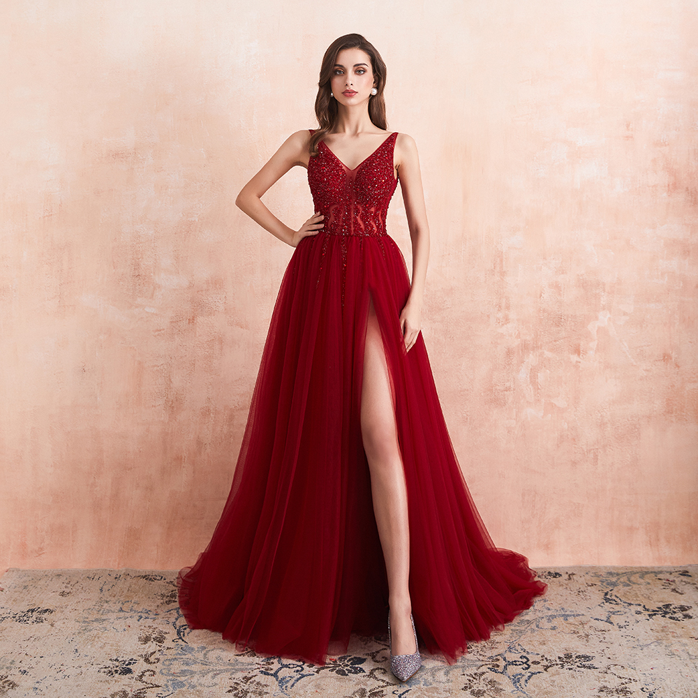 Beading Prom Dresses 2020 Long Sexy V-Neck High Split Tulle Sweep Train Sleeveless Evening Gown A-Line Backless Vestido De