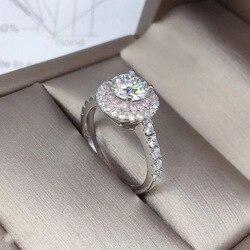 100% prawdziwe 18K pierścionek z białego złota dla kobiet naturalne AAA FL diament biżuteria kamień Anillos Bizuteria napięcie ustawienie pierścionki z diamentem