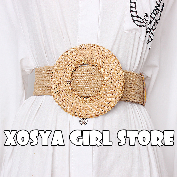 Wooden Buckle Dress Belt For Women Casual Female Braided Wide Strap Female Designer Woven Girls Elastic PP Straw Belts BZ339