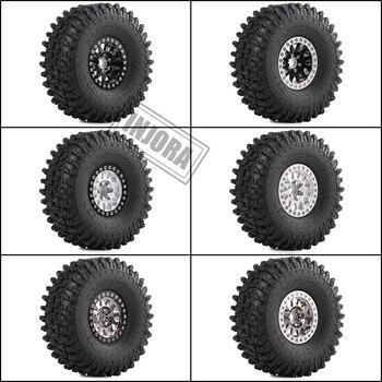 INJORA 4PCS Metal 1.9 Beadlock Wheel Rim Tires Set for 1/10 RC Crawler Car Axial SCX10 90046 Traxxas TRX-4 Redcat GEN 8 2