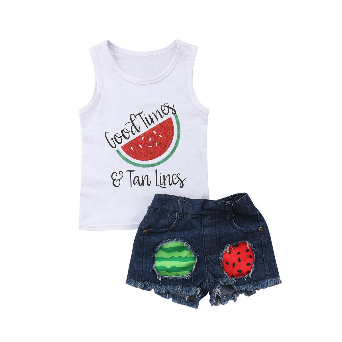 2020 Children Kids Baby Girl Clothes Set Summer Sleeveless Watermelon Vest Tops Shorts Ripped Jeans Girls Clothing Outfits 4