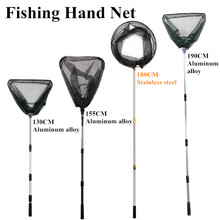 Fishing Net Retractable Telescopic Landing Net Folding Aluminum Alloy 1.3-1.9m Triangle/Stainless Steel Round For Fly Fishing