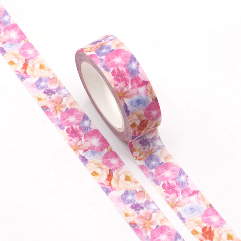 1pc Pink Flowers Blooming Flash Film Valentine Washi Tape Kawaii Scrapbooking Tools Masking Tape Photo Album Diy Decorative Tape