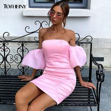 Женское облегающее платье с открытыми плечами tosheiny розовое
