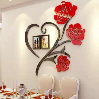 3 Size Multi-Pieces Rose Flower Pattern 3D Acrylic Decoration Wall Sticker DIY Wall Poster Picture Frame Home Bedroom Wallstick