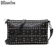 DIINOVIVO Rivet Soft Women Messenger Bags Skull Design Clutch Handbags Women Shoulder Bag Leather Punk Rock Bags Purse WHDV1280 цены