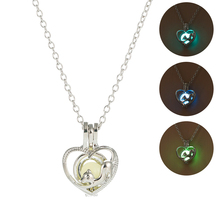 Cute Dog Heart Shape Luminous Pendant Necklace Hollow Glow In The Dark Delicacy Necklcae Fashion Silver Jewelry Women Accesory