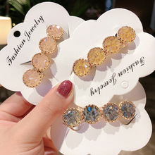 New retro girl delicate alloy inlaid colorful rhinestone flower hairpin spring clip hair accessories for women jewelry