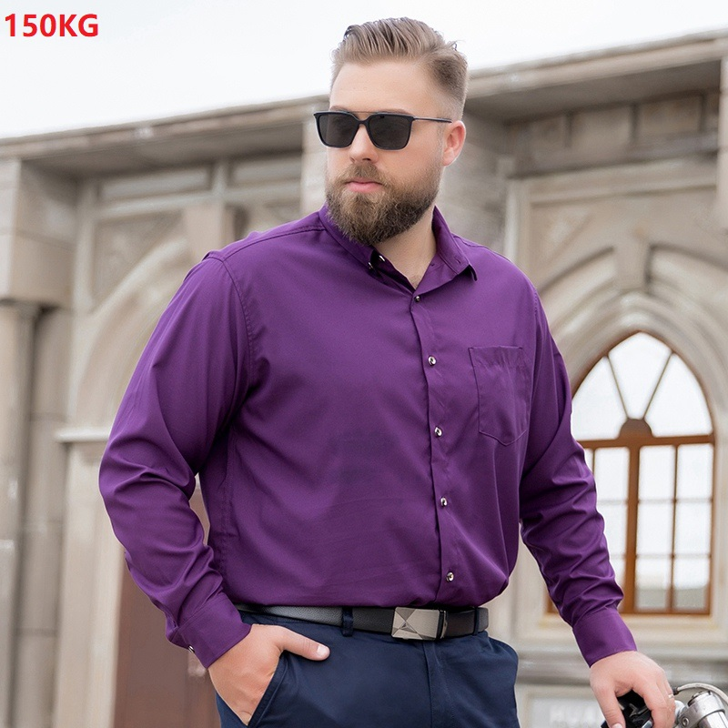 Plus Size 7XL 8XL 9XL 10XL 11XL 12XL Men Formal Shirt Long Sleeve Dress Shirt Office Shirt Purple Wedding Oversize Shirt Red 58