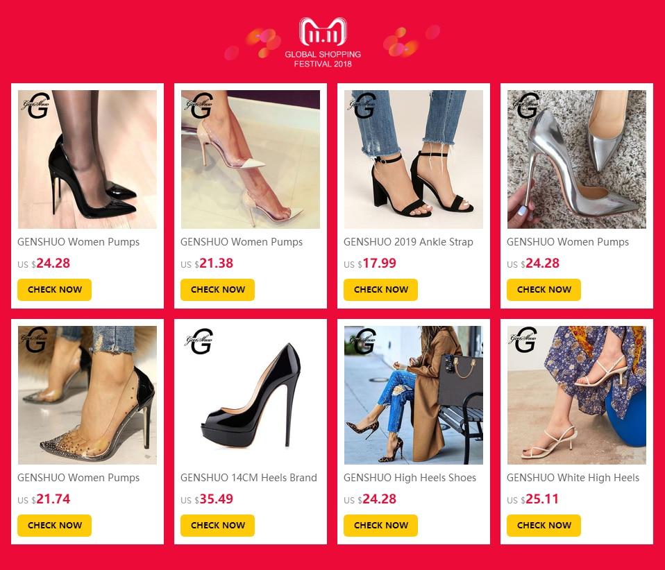 H8aaedb47b8704bf5a4fffa5000b15635X GENSHUO 2019 Ankle Strap Heels Women Sandals Summer Shoes Women Open Toe Chunky High Heels Party Dress Sandals Big Size 42