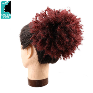 Fashion Icon Synthetic Chignon Short Hair Bun Drawstring Puff Afro Kinky Curly Hairpiece Ponytail Bresilien Natural Extension(China)