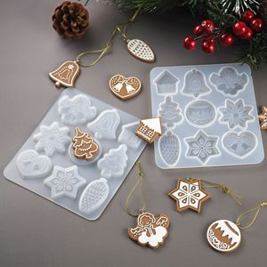 DIY Resin Crystal Epoxy Mold Christmas Tree Snowflake Elk Pendant Keychain Listing Jewelry Silicone Mold Set