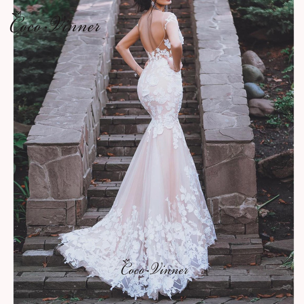 Cap Sleeves Embroidery Sweetheart Neck Mermaid Wedding Dresses Champagne Sexy Backless Bridal Gown Court Train W0519