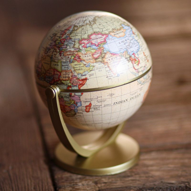 Vintage English Edition Globe World Map Decoration Earth Globes With Base Geography Classroom Home Office Decoration 72XF