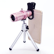 Pink Monocular Binoculars 12x Zoom Telescope Outdoor Sports Mobile Support with Vision Watching Travelling