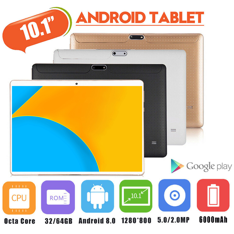HOT Cheap 10 Inch Tablet PC Android 8.0 Octa Core 6GB RAM 128GB ROM 5.0MP Bluetooth Wifi 3G 4G LTE IPS 1280*800 Phone Tablet 10