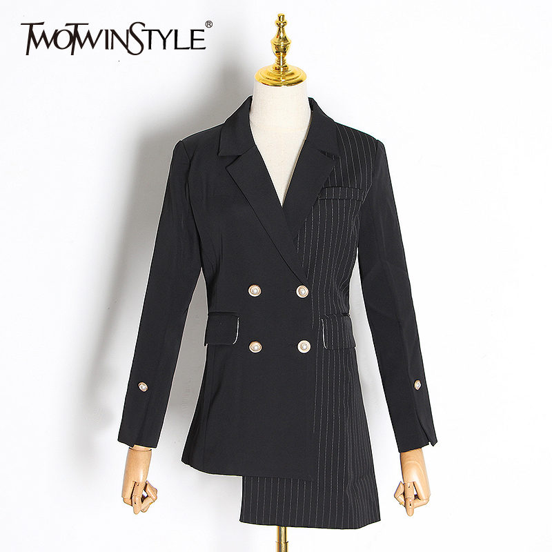 TWOTWINSTYLE Asymmetrical Patchwork Plaid Women's Blazer Notched Long Sleeve Double Button Female Suit 2020 Autumn Fashion New