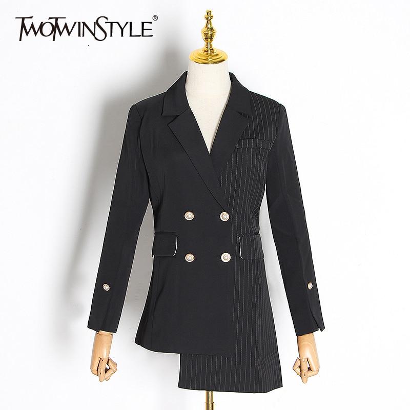 TWOTWINSTYLE Asymmetrical Patchwork Plaid Women's Blazer Notched Long Sleeve Double Button Female Suit 2020 Autumn Fashion New