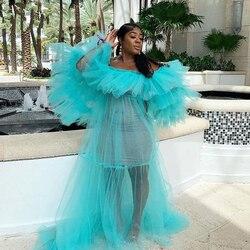 Элегантное голубое небо, женское платье с открытыми плечами, длинное летнее платье, платье с оборками, фатиновое платье длиной до пола, плат...