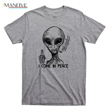 Alien I Come In Peace T Shirt Extraterrestrial Ufo Area 51 Roswell Spaceship 2019 New T-Shirts Men Clothing High Quality Shirts