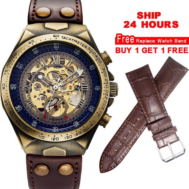 Mechanical Watch часы мужские механические часы стимпанк скелетоны с автоподзаводом наручные часы механизм винтажные кожаные прозрачные Automatic Watch Men миханические часы механические ручные часы Skeleton Watches