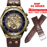 Mechanical Watches Steampunk Bronze Automatic Watch Men Vintage Transparent Skeleton Watch Man Clock montre homme Ship 24 Hours