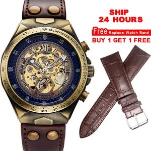 Image 1 - Mechanical Watches Steampunk Bronze Automatic Watch Men Vintage Transparent Skeleton Watch Man Clock montre homme Ship 24 Hours