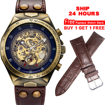 Mechanical Watches Steampunk Bronze Automatic Watch Men Vintage Transparent Skeleton Watch Man Clock montre homme Ship 24 Hours ik colouring mens orologio uomo automatic wristwatch skeleton steampunk wrist watch stainless steel band male clock montre homme