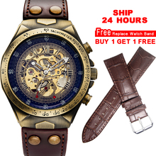 นาฬิกา Steampunk นาฬิกาผู้ชาย VINTAGE โปร่งใสโครงกระดูกนาฬิกาชายนาฬิกา montre Homme เรือ 24 ชั่วโมง