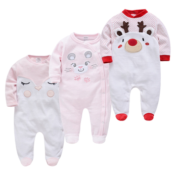 Velvet Warm Winter Newborn Baby Rompers 3 pcs/lot Cute Animal Patchwork Cartoon Infant Babies Girl Boys Jumpsuit Toddler Pajamas