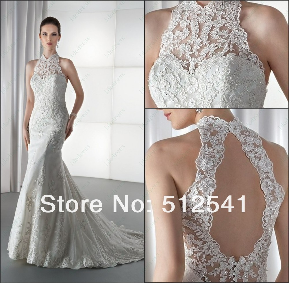 Charming Vestido De Noiva High Neck Lace Bridal Gown 2018 Wedding Dresses Sheath Backless Stain Sequin Applique Sweep Train