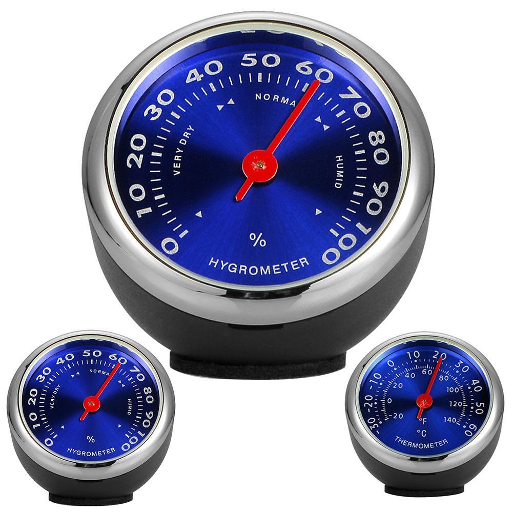 Portable Creative Mini Car Dashboard Thermometer Hygrometer Mechanical Ornament Auto Decoration Gauges Clocks