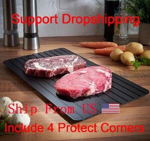Image 1 - Быстрое устройство для размораживания, поднос для размораживания мяса, фруктов, еды, быстрое устройство для размораживания (в комплекте 4 защитных угла)
