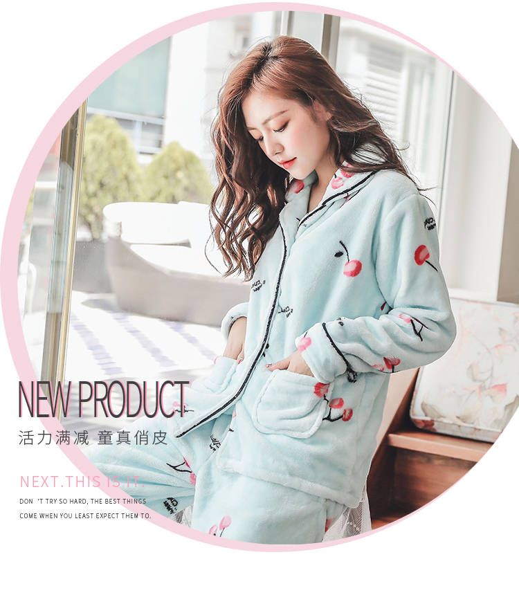 Plus Size 3XL 4XL 5XL Pyjamas women winter new Korean kawaii pink coral fleece warm pajama set thick flannel pijama home service 163